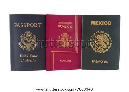 Three passport(American,Mexican and Spanish) - stock photo