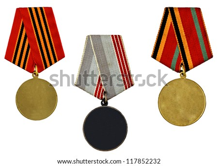 three patterns medals isolated on white background - stock photo