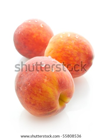 three peaches - stock photo