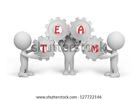 "Three people hold the gear with the word ""team"". Isolated white background. - stock photo"