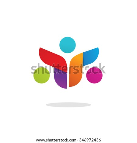 Three people logo colorful abstract symbol. Group of 3 happy motivated persons together with hands. Community cooperation unity friends icon logotype design. Friends society symbol, image - stock photo