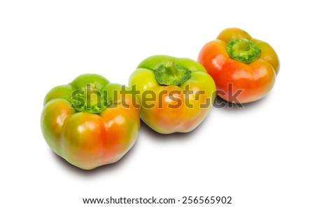 Three peppers isolated on white