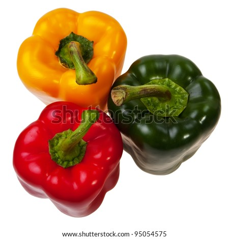 Three peppers red, green and yellow top view, isolated over white background. - stock photo