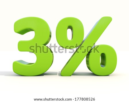 Three percent off. Discount 3%. 3D illustration. - stock photo
