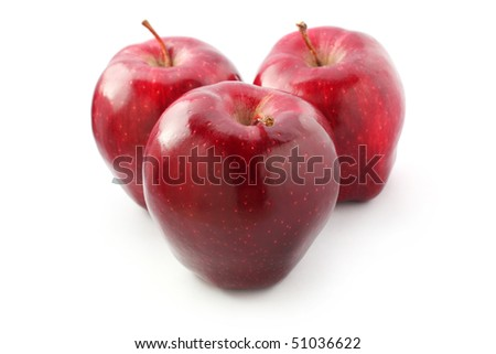 Three perfect red apples isolated on white background.