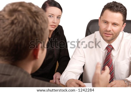 Three persons business meeting   - isolated - stock photo