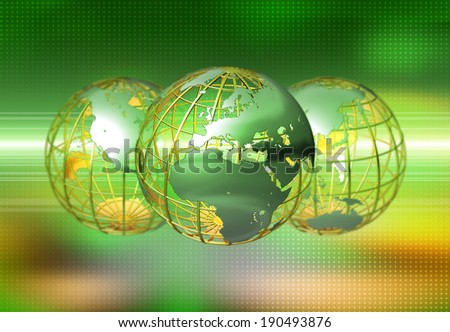 Three perspectives of the globe - stock photo