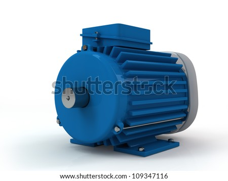 three-phase asynchronous electric motor on a white background - stock photo
