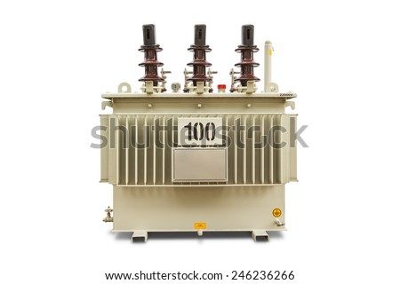 Three phase (100 kVA) corrugated fin hermetically sealed type oil immersed transformer, isolated on white background with clipping path - stock photo