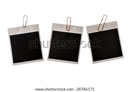 three photo frames with clamp isolated on white