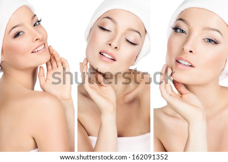 three photos in one, the girls take care of the skin. - stock photo