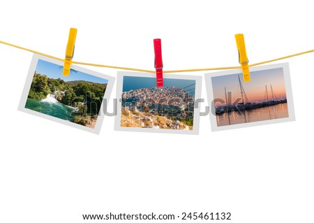 Three photos of Croatia on clothesline isolated on white background with clipping path
