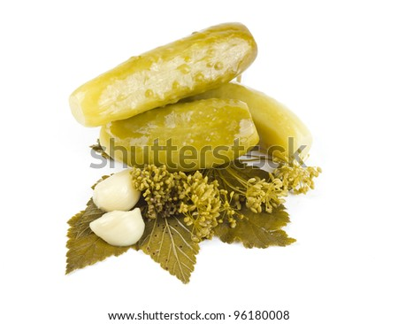 three pickles isolated on white background - stock photo