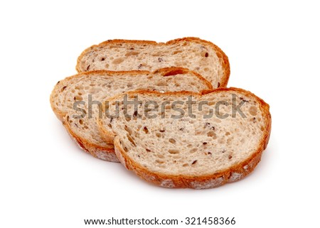 three piece whole wheat breads isolated on white background - stock photo