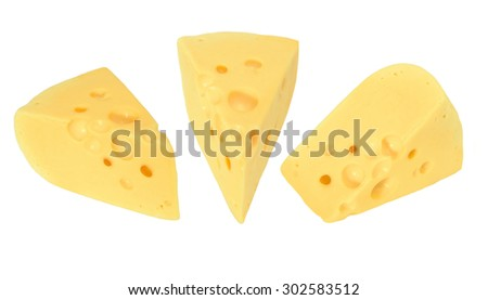 Three pieces of cheese isolated on white - stock photo