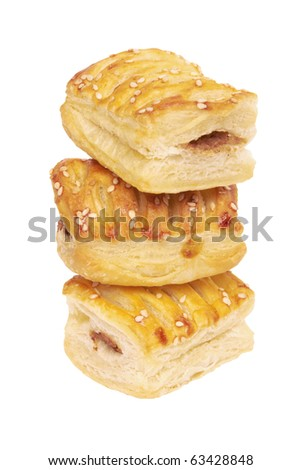 Three pies with meat isolated on white background - stock photo