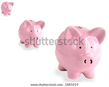Three Piggy banks on white - stock photo