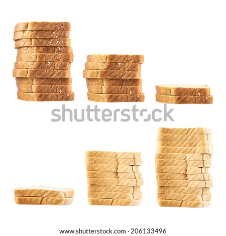 Three piles of toast bread slices isolated over the white background - stock photo