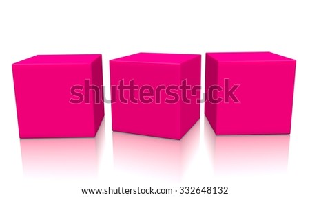 Three pink aligned 3d blank concept boxes with shadows isolated on white background. Rendered illustration. - stock photo