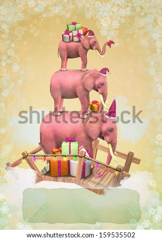 Three pink elephants in the sky with gifts and snowflakes. Christmas greeting card with place for text - stock photo