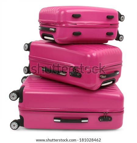 three pink suitcase isolated on white background  - stock photo