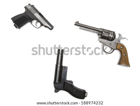 three pistols on white background - stock photo