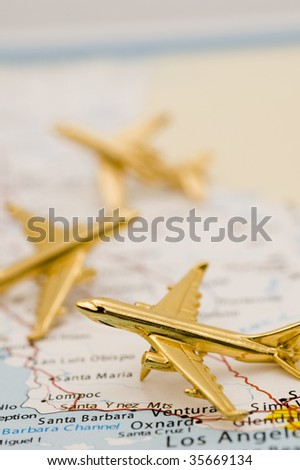 Three Planes Over California. Map is Copyright and Trademark Free, Downloaded off www.nationalatlas.gov - stock photo