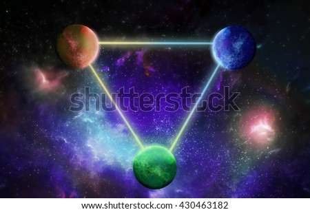 Three planets interrelated lines of light on the cosmic background - stock photo