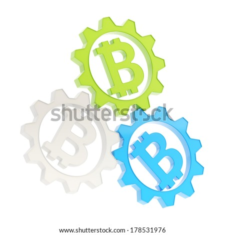 Three plastic cogwheel gears with a bitcoin peer-to-peer crypto currency signs inside composition isolated over white background - stock photo
