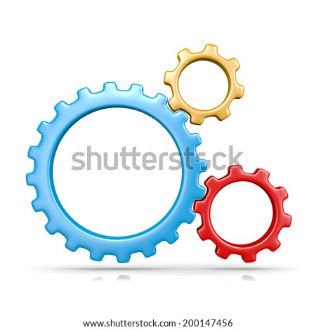Three Plastic Colorful Gears Engaged 3D Illustration Isolated on White Background - stock photo