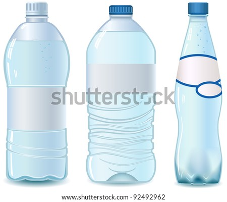 Three Plastic water bottle. Isolated on white. Empty label. - stock photo