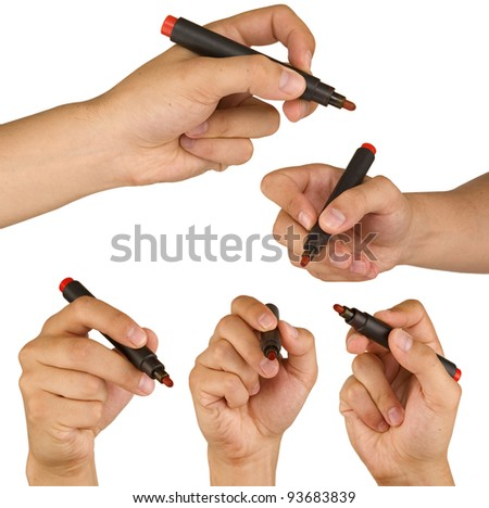 three point of view from male hand with red marker isolated on white background - stock photo