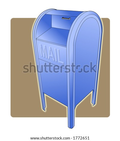 Three point perspective vector illustration of a postal drop box.