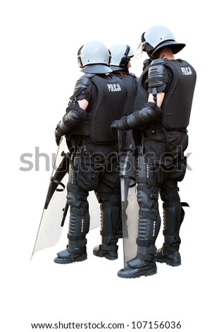 Three police officers in full riot gear isolated on white. Clipping path included. - stock photo