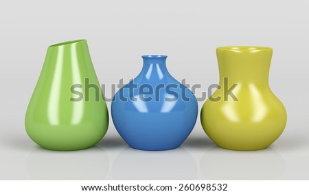 Three porcelain vases with different colors  - stock photo