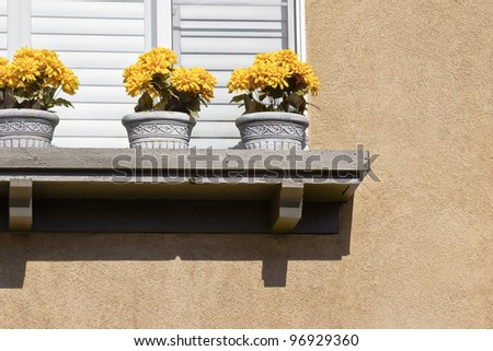 Three pots with flowers sit on a window ledge. - stock photo