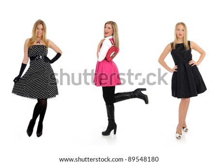 three pretty shopping woman friends smiling. isolated on white