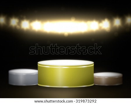 Three prize places winners podium in the lights of spotlights - stock photo