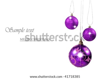 Three purple christmas baubles against white background with space for text - stock photo