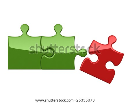 Three puzzles on white background symbolizing broken bond with leader