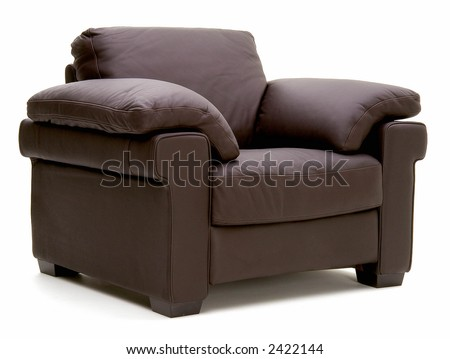 three quarter view of leather chair - stock photo