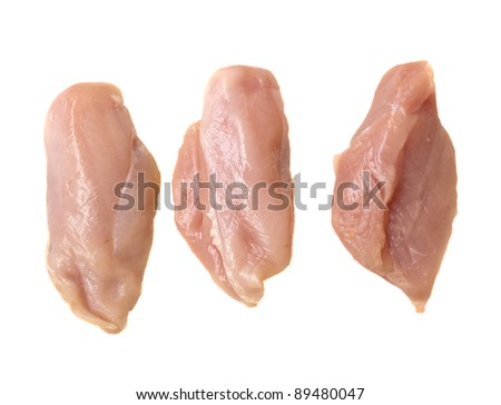 three raw chicken meat breast slices isolated on white - stock photo