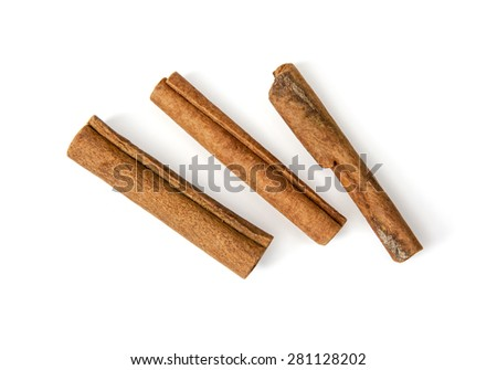 Three raw cinnamon isolated on the white background. - stock photo
