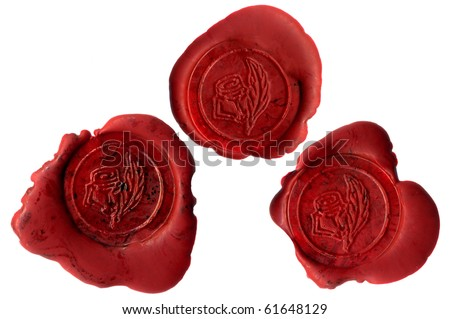 Three real wax seals with roses; these are hi-res photos, not rendered images - stock photo