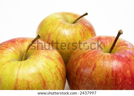 Three red apples - stock photo