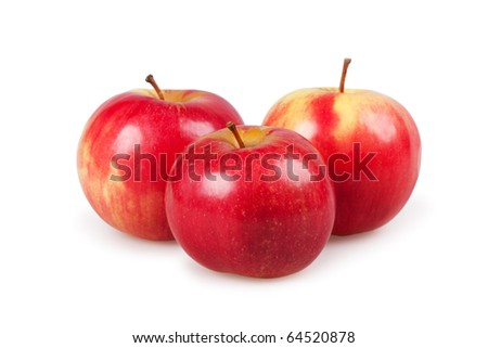 Three red apples isolated on the white - stock photo