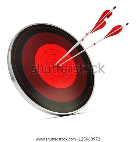 Three red arrows hitting the center of a red target or dart, white background, concept of achieving objectives - stock photo