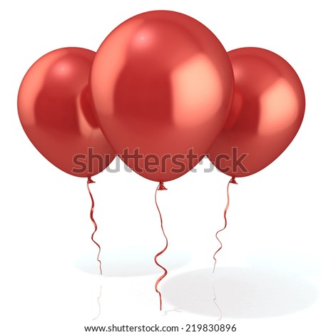 Three red balloons, isolated on white background - stock photo