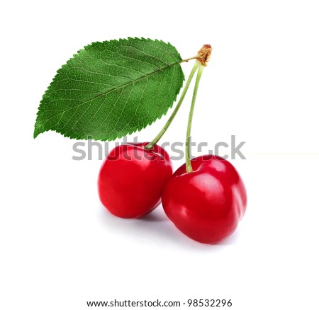Three red cherries isolated on a white background - stock photo