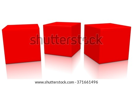 Three red 3d blank concept boxes next to each other, with reflection, isolated on white background. Rendered illustration. - stock photo